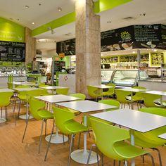 Cafe de Boston as a bright, modern interior just like its brand personality. #Boston #Design