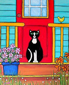 Red door Tuxedo cat folkart Print Shelagh Duffett by AliceinParis