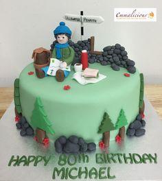 Hiking Cake Birthday Cake For Mum, 60th Birthday, Bow Tie Cake, Mountain Cake, Nature Cake, Camping Cakes, Cake Design Inspiration, Dad Cake, Retirement Cakes