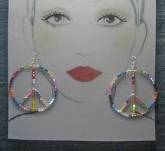 Extra Large Sterling Silver Peace Earrings - Swarovski Crystals Multi Color - #52811o56   -