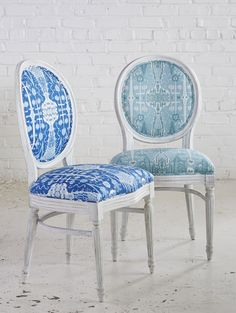 Lacefield Bombay ikat print upholstered french chairs