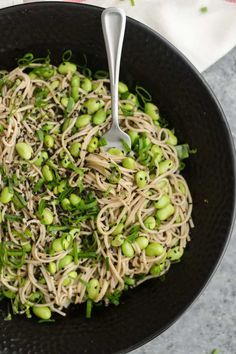 A simple sesame soba noodle bowl that uses frozen edamame for a quick and easy dinner or lunch. Ready in about 20 minutes.