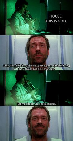 Skin Deep: Season 2 Episode 13: originally broadcast on Fox on February 20, 2006  | Dr. James Wilson (Robert Sean Leonard) and Dr. Gregory House (Hugh Laurie) | This is the first episode in which we see House's leg, and the extent of the damage done by the surgery to remove the tissue.