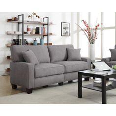 Serta RTA Martinique Collection 61-inch Kona Grey Fabric Loveseat Sofa