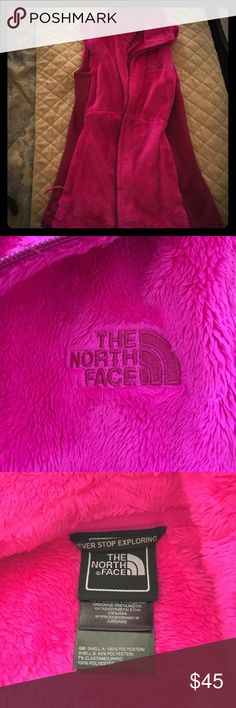 PRICE DROP! North Face Vest Women's The North Face vest. Hot pink and fuzzy. Pockets. Size XS. Worn ONE time. Excellent condition. North Face Other