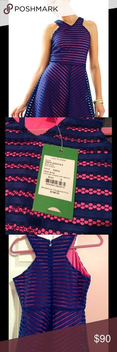Lilly Pulitzer Megan Fit & Flare Dress ON SALE Beautiful brand new with tags Lilly Pulitzer Megan Fit and Flare crochet dress in True Blue with fuchsia lining. Size Small. Starfish zipper pull. Lilly Pulitzer Dresses