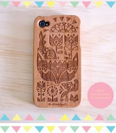 Carved wooden iPhone case.