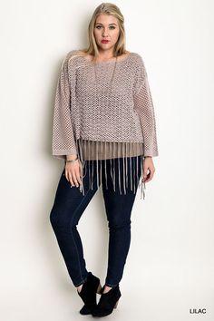 e04e25ed3f9 UMGEE Crochet Sweater Fringe Trim Lilac Plus Size www.stores.ebay.com