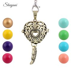 Find More Pendant Necklaces Information about 10pcs/lot Harmony Ball Caller Chime Pendant For Pregnant Women Baby Gift Heart Shape Fashion Floating Locket Angel Wings Pendant,High Quality ball shoe,China pendant painting Suppliers, Cheap pendant boy from shuyani Official Store on Aliexpress.com