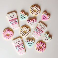 Latte and Donut Valentines Decorated Sugar Cookies