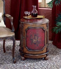 Artists Originals Thurmond Traditional Red Hand Painted Drum Table