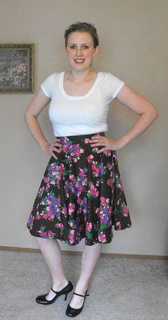 Vintage Circle Skirt Brown Floral Print Country M by soulrust 4d2b58615