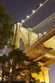 The Brooklyn side pylon of the Brooklyn Bridge at night -- Curated by: Ecora Engineering & Resource Group New York City, Photo New York, A New York Minute, Empire State Of Mind, Brooklyn Bridge, Manhattan Bridge, I Love Nyc, Dream City, New York