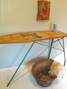 Wood & Green Enamel Metal Folding Table Vintage by DivineOrders, $70.00
