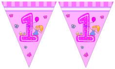 1-vuotisjuhlat tyttö; lippubanderolli