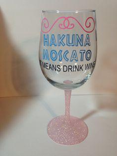 Disney Inspired Hakuna Moscato Wine Glass With by RiversideManor