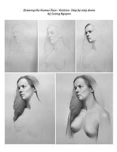 Drawing the human face - Kristine - Step by step demo by Cuong Nguyen