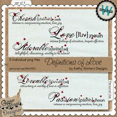 Definitions of Love by Kathy Winters Designs  KW CT cd