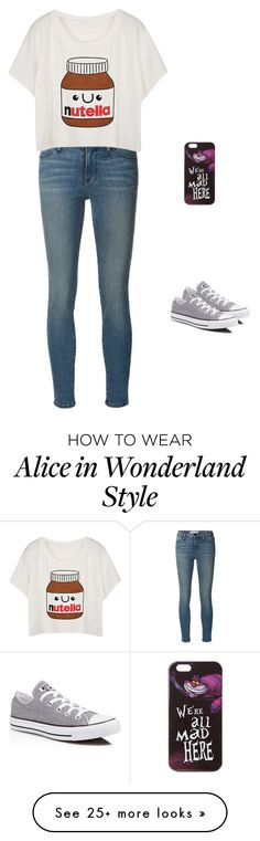 """Nerdy outfit (Nutella)"" by emmaholmes1119 on Polyvore featuring Frame Denim, Disney and Converse"
