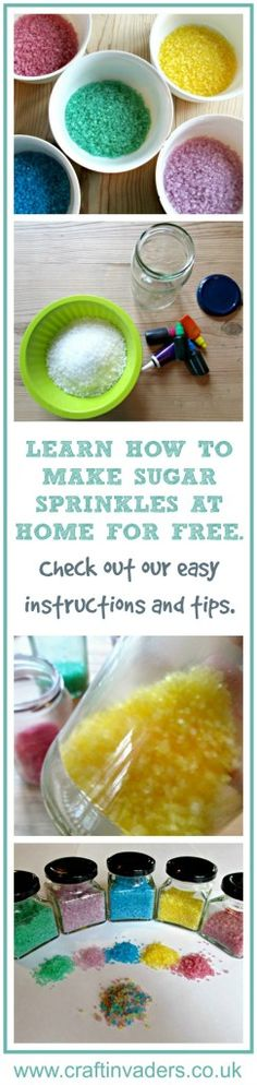 Learn how to make sugar sprinkles in a rainbow of colours using items from your store cupboard, really simple and fun to make