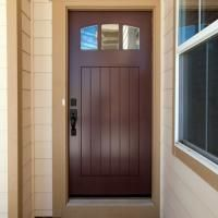 This PL143 entry door was customized by adding an arch top and v-groove panel. MDF with one step (OS) sticking.