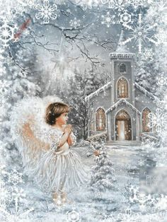 A White Christmas! Christmas Scenes, Christmas Angels, Christmas Art, Winter Christmas, Vintage Christmas Images, Christmas Pictures, Angel Gif, Winter Scenery, Angel Pictures
