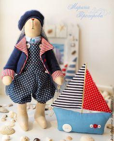 Купить Заяц Морячок - синий, тильда заяц, заяц тильда, заяц моряк, заяц морячок