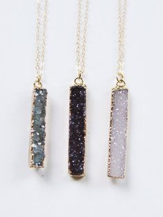 Black Druzy Bar Necklace Gold Rectangular by friedasophie on Etsy