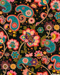 Pattern Wallpaper Vintage Black 19 Ideas For 2019 Motif Paisley, Paisley Art, Paisley Fabric, Motif Floral, Paisley Design, Paisley Flower, Flower Fabric, Boho Pattern, Pattern Art