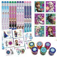 Birthday Party Favor Set for 12 - 12 Frozen Pencils, 16 Frozen Tattoos, 24 Frozen Stickers, 12 Snowflake Stampers @trendingtoystore.com