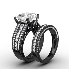 cubic zirconia with asscher cut black womens wedding ring set with 925 sterling silver - Womens Black Wedding Ring Sets