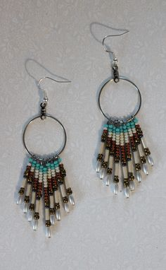 hand made beaded hoop earrings with silver plated ear wires, made in the Yukon by Suzanne Flumerfelt