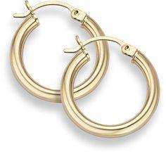 "applesofgold.com - 14K Gold Hoop Earrings - 3/4"" diameter (3mm thickness)"