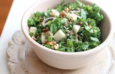 Chopped Kale and Lentil Winter Salad   Melissa d'Arabian - Kale, pre-cooked lentils, quick-pickled shallots, mustardy dressing. Delicious!