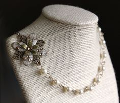 Flower necklace beadwork dangle earrings pearl crystal by AmberSky