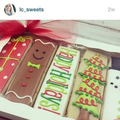 Adorable cookie sticks by Lydia @ lc_sweets Christmas Sugar Cookies, Christmas Sweets, Holiday Cookies, Christmas Baking, Holiday Treats, Christmas Cookie Boxes, Fancy Cookies, Iced Cookies, Cute Cookies