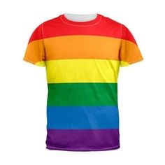 Gay Pride Rainbow Flag Men's T-Shirt ❤ liked on Polyvore featuring men's fashion, men's clothing, men's shirts and men's t-shirts