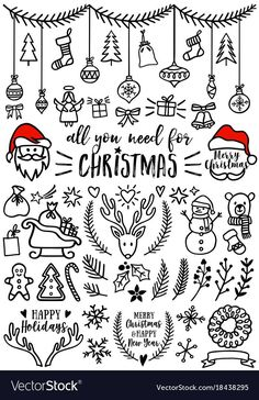 Hand drawn Christmas doodles for cards, banners, set of vector design elements. … - christmas dekoration Hand drawn Christmas doodles for cards, banners, set of vector design elements. Christmas Sketch, Christmas Doodles, Christmas Images, Christmas Design, Christmas Art, Christmas Decorations, Christmas Icons, Christmas Banners, How To Draw Christmas Tree