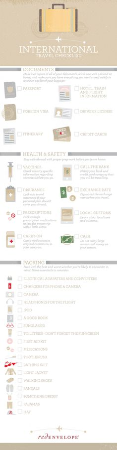Travel and Trip infographic Need help packing for your overseas vacation? This International Travel Checklis. Infographic Description Need help packing Travel Info, Packing Tips For Travel, Travel Advice, Travel Essentials, Travel Hacks, Traveling Tips, Packing Lists, Travel Deals, Budget Travel