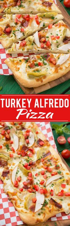 A creamy, cheesy pizza topped with turkey, bacon, artichokes and tomatoes. @FosterFarms TheBestTurkey AD