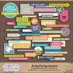 LIP: Artsy Fartsy Jazzers - $2.36 : Peppermint Creative, Digital Scrapbook Supplies