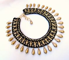 Egyptian style chochet and chain statement necklace