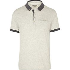 Ecru contrast polo shirt