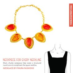 Wear a short, chunky #neckpiece that creates a round structure and fills your neck when wearing a square neckline, like this #Orange #Durzy neckpiece by #FinuraFashions: http://www.theblingstreet.com/jewellery/necklaces/druzy-blues-necklace-fiakon18-finura-fashions  #neckpieceforeveryneckline #accessories #blingbling #theblingstreet