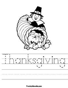 Thanksgiving Worksheet from TwistyNoodle.com