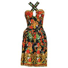 Christian Lacroix Floral Criss Cross Dress | From a collection of rare vintage evening dresses and gowns at https://www.1stdibs.com/fashion/clothing/evening-dresses/