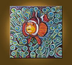 Clownfish and Frogspawn Coral  20 x 20 inch by ElizabethGraf