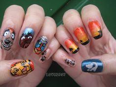 lion king nails! Cool i can get this done for lylas bday