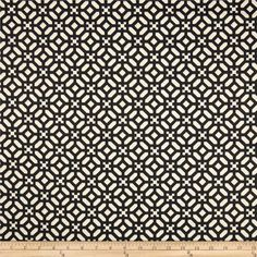 Waverly Modern Geo Black from @fabricdotcom  Screen printed on cotton duck; this versatile, medium weight fabric is perfect for window accents (draperies, valances, curtains and swags), accent pillows, duvet covers, upholstery and other home decor accents. Colors include black and ivory.