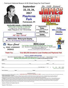 Annual James Dean Run Car Show in Fairmount Indiana Sept. 22-24, 2017.
